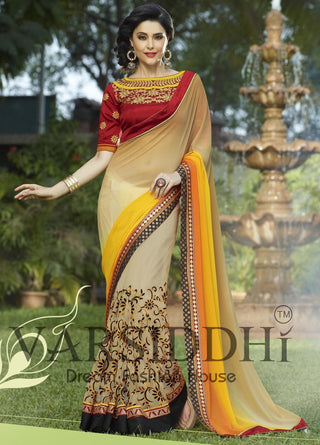 Designer beige net saree with  red blouse