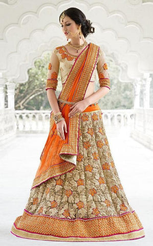 Beige,Net,Heavy bridal wedding saree with heavy embroidery blouse