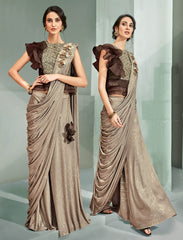 Beige Embossed Lycra Party Wear Saree With Brown Blouse