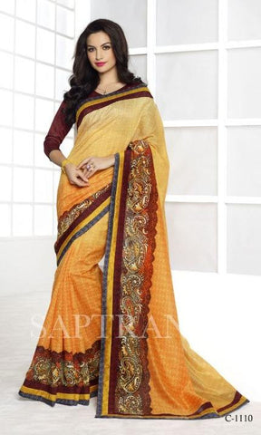 Yellow , Brown,Silk,Designer partywear saree for party