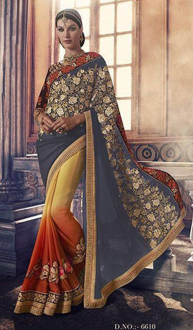 Multicolor,Georgette,Heavy party werar designer saree