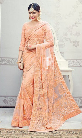 Peach,Lucknowi,heavy designer party wear saree
