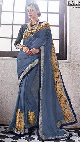 Grey,Lycra,Party wear designer heavy saree