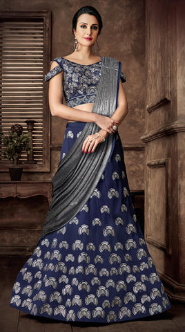 Blue Taffeta Silk Party Wear Lehenga With Silver Dupatta