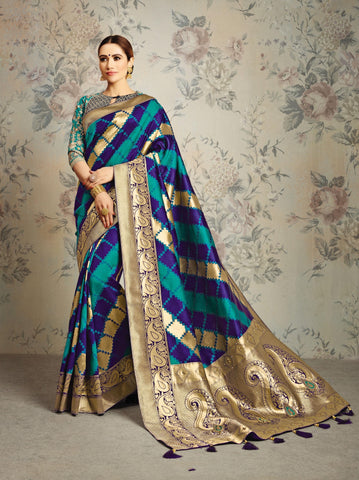 Blue Green Silk Party Wear Saree With Navy Blue Blouse