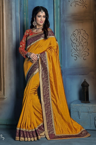 Yellow,Art silk,Party wear designer saree