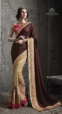 Brown , Beige,Georgette,Heavy wedding wear designer saree