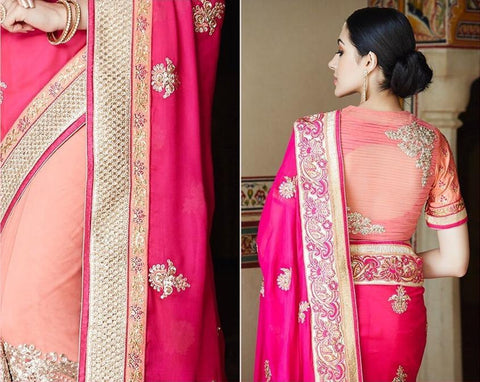 Pink,Georgette,Heavy bridal embroidery saree with designer blouse