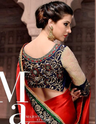 Red party wear designer saree with patch and zari booti work