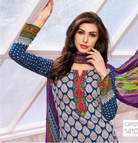 Printed multi color straight salwar suits knee length dress material
