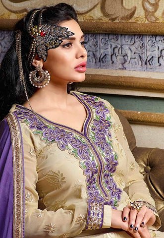 Beige and purple embroidered knee length straight suits dress material