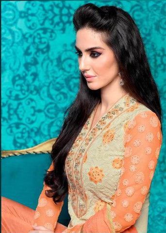 Orange and beige heavy embroidery designer long straight salwar suits with embroidery lace border