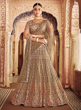 Beige Net Party Wear Lehenga With Beige Dupatta