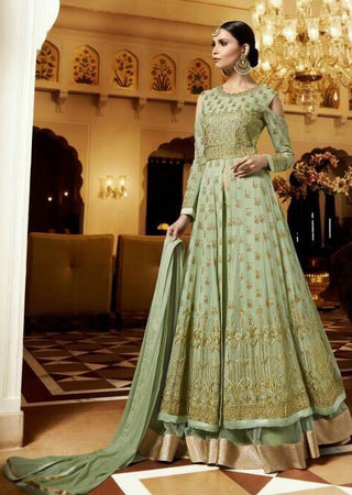 Green Georgette High Waist Cold Shoulder Type Embroidered Anarkali Dress With Dupatta