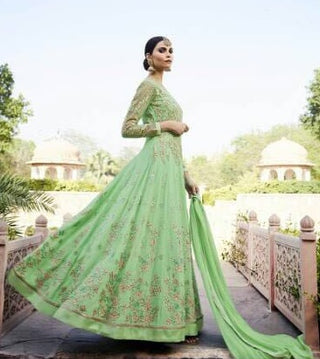 Light Green Floral Embroidered Anarkali Suit With Dupatta