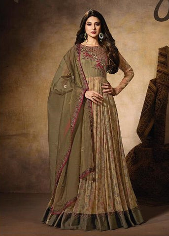 Beige Silk Party Wear Anarkali With Green Dupatta