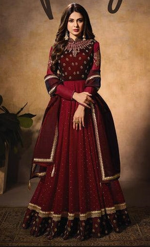 Maroon Velvet Party Wear Anarkali Suit With Maroon Dupatta