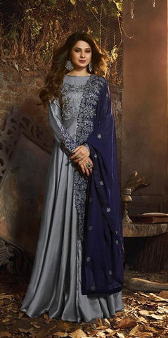 Grey Silk Party Wear Anarkali Suit With Blue Dupatta