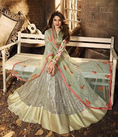 Beige Lycra Party Wear Anarkali Dress With Green Dupatta