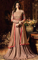 Peach Silk Party Wear Anarkali With Peach Dupatta