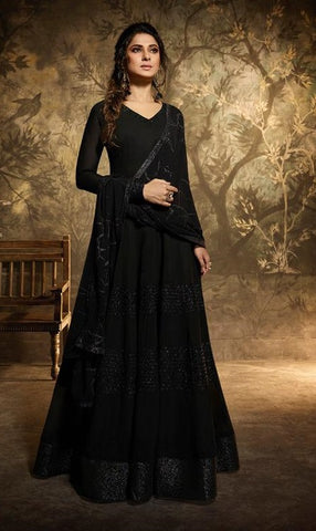 Black Georgette Party Wear Anarkali Dress With Black Dupatta