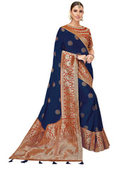 Navy Blue Silk Georgette Party Wear Saree With Blouse