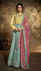 Blue Yellow Silk Party Wear Anarkali Dress With Pink Dupatta