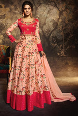 Peach Silky Georgette Party Wear Salwar Suit With  Dupatta