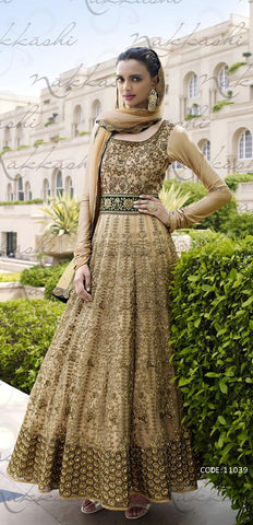 Beige,Net,Heavy designer anarkali suits with heavy work