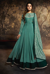 Blue Georgette Silk Party Wear Suit With  Dupatta