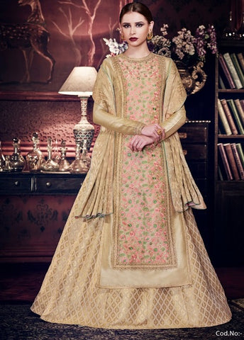 Floral Embroidered Beige Color Handloom Silk Anarkali Dress With Dupatta