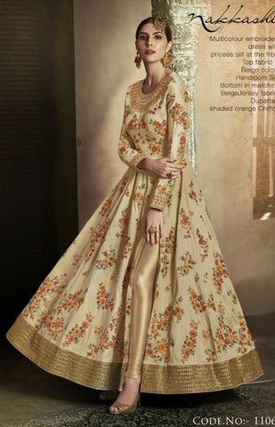 Beige Handloom Silk With Floral Work Anarkali With Orange Dupatta