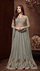 Grey Crape Anarkali Salwar Kameez With Grey Dupatta