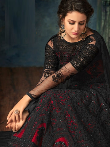 Black Net Party Wear Anarkali Suit With Balck Dupatta