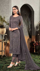 Blackish Grey  Georgette Party Wear Salwar Suit With  Dupatta