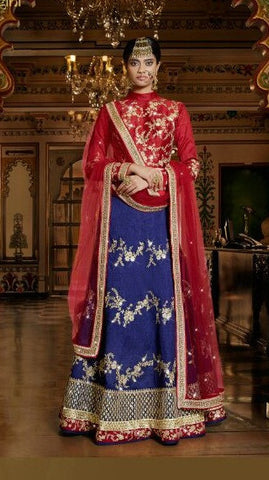 Red , blue,Silk,Party wear designer lehenga