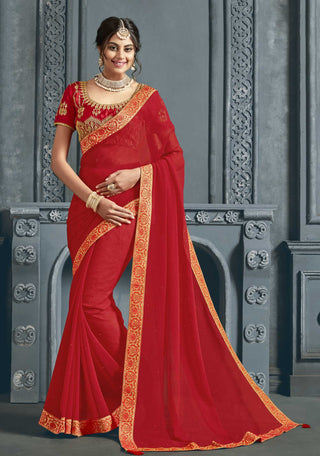 Red Chiffon Party Wear Saree With Red Blouse