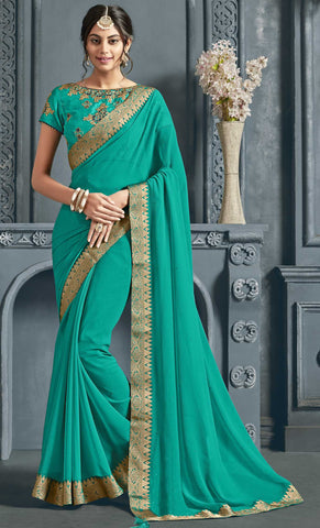 Green Chiffon Party Wear Saree With Green Blouse