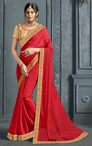 Red Chiffon Party Wear Saree With Beige Blouse