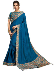 Blue Poly Silk Party Wear Saree With Blue Blouse