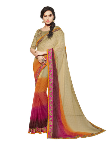 Multi,Chiffon Jacquard,party wear designer saree with designer blouse