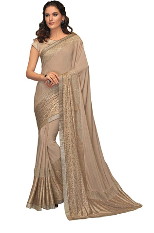 Beige Lycra Party Wear Saree With Beige Blouse