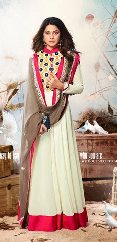Cream and Red Georgette Anarkali Style Suit With Dupatta