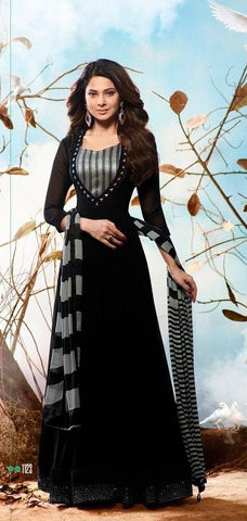 Black Georgette Anarkali Style Suit with Dupatta
