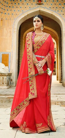 Red Silk Saree With Red Blouse