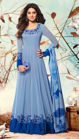 Blue Anarkali Style Suit With Dupatta