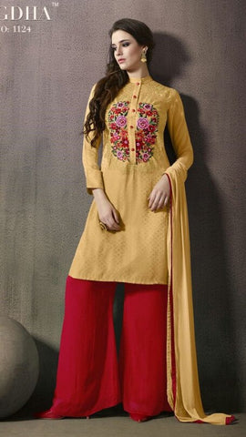 Yellow , Red,Satin,Designer party wear suits