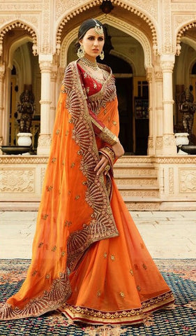 Orange Softy Silk Saree With Red Blouse