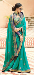 Cyan Silk Saree With Blue & Cyan Blouse