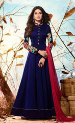 Dark Blue Georgette Anarkali Style Suit With Duaptta